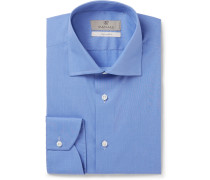 Blue End-on-end Cotton Shirt - Blue