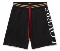 Printed Fleece-back Modal-blend Jersey Drawstring Shorts