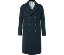Oversized Double-breasted Textured-wool Coat
