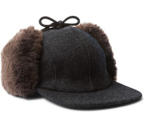 Mackinaw Shearling-Trimmed Wool Trapper Hat