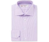 Purple Slim-fit Cutaway-collar Micro-check Cotton-poplin Shirt - Purple