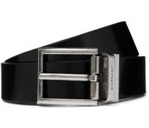 3cm Black Reversible Leather Belt - Black