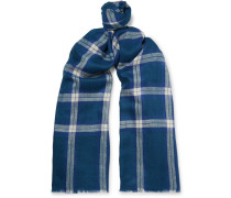 Fringed Checked Cashmere Scarf - Blue