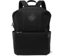 Leather-trimmed Mesh Backpack - Black