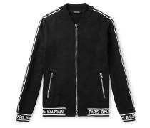 Logo-jacquard Loopback Cotton-jersey Zip-up Sweatshirt - Black