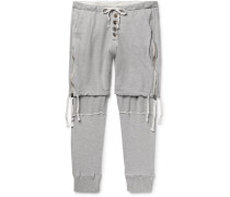 Tapered Zip-detailed Loopback Cotton-jersey Sweatpants