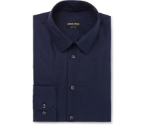 Dark-blue Slim-fit Silk-shantung Shirt