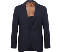 Navy Feather Weight Cashmere-twill Unstructured Blazer