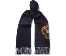 Fringed Embroidered Cashmere Scarf