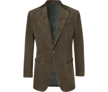 Army-green Slim-fit Cotton-corduroy Suit Jacket - Green