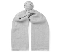 Fringed Linen, Cashmere And Wool-blend Scarf - Gray