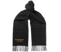 Logo-embroidered Fringed Cashmere Scarf - Black
