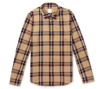 Checked Cotton-twill Shirt - Brown