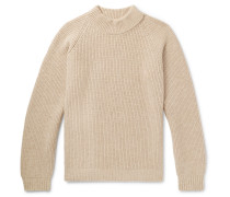Funnel-neck Ribbed Wool Sweater - Beige