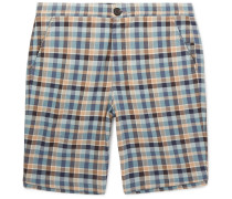 Checked Cotton Drawstring Shorts