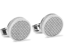 Carbon Fibre and Enamel Rhodium-Plated Cufflinks