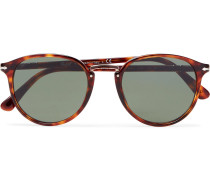 Round-frame Tortoiseshell Acetate And Rose Gold-tone Sunglasses - Brown