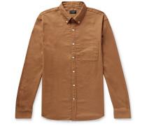 Slim-Fit Button-Down Collar Cotton-Flannel Shirt