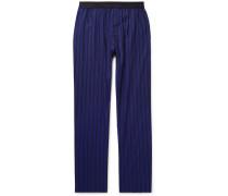 Striped Cotton-poplin Pyjama Trousers - Blue