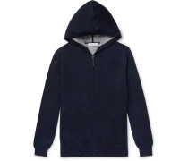 Cashmere And Silk-blend Zip-up Hoodie - Navy