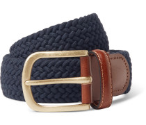 3.5cm Midnight-blue Leather-trimmed Woven Stretch-cotton Belt - Navy