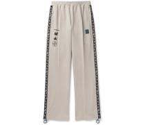 Glittered Webbing-Trimmed Cotton-Blend Track Pants