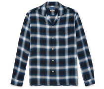 Camp-collar Checked Flannel Shirt - Navy