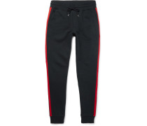 Slim-fit Tapered Grosgrain-trimmed Loopback Cotton-jersey Sweatpants