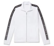 Webbing-trimmed Tech-jersey Track Jacket - White