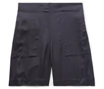 Wide-Leg Satin Shorts