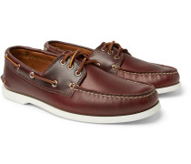 Downeast Leather Boat Shoes - Dark brown