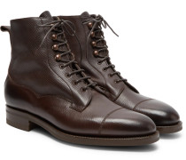 Galway Cap-toe Textured-leather Boots - Brown