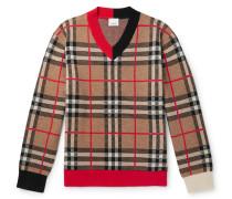 Checked Merino Wool-Blend Sweater