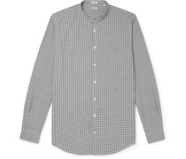 Slim-Fit Grandad-Collar Micro-Checked Cotton Shirt
