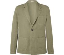 Green Unstructured Linen and Cotton-Blend Blazer