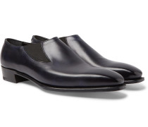 Anthony Cleverley Burnished-leather Loafers - Navy