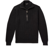 Slim-Fit Leather-Trimmed Ribbed Merino Wool Half-Zip Sweater