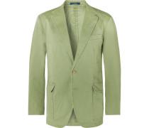 Green Slim-Fit Unstructured Brushed Cotton-Blend Twill Blazer