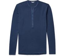 Waffle-Knit Cotton-Jersey Henley T-Shirt