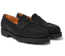 Lopez Suede Penny Loafers - Black