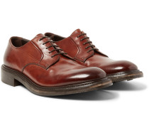 Echo Polished-leather Derby Shoes - Brown