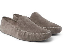 Maurice Cashmere-lined Suede Slippers - Gray