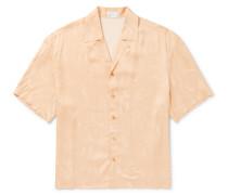 Camp-Collar Printed Satin Shirt