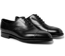 Chelsea Cap-toe Burnished-leather Oxford Shoes - Black