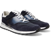 Run Track Torino Leather, Suede And Nylon Sneakers - Navy