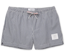 Mid-length Striped Seersucker Swim Shorts - Navy