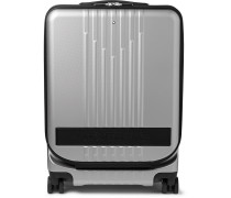 #my4810 Cabin Trolley 55cm Leather-trimmed Polycarbonate Suitcase - Silver