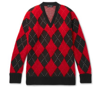 Oversized Argyle Wool-blend Sweater