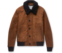 Shearling-trimmed Suede Bomber Jacket - Brown