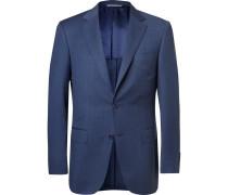 Navy Slim-fit Mélange Wool Suit Jacket - Navy